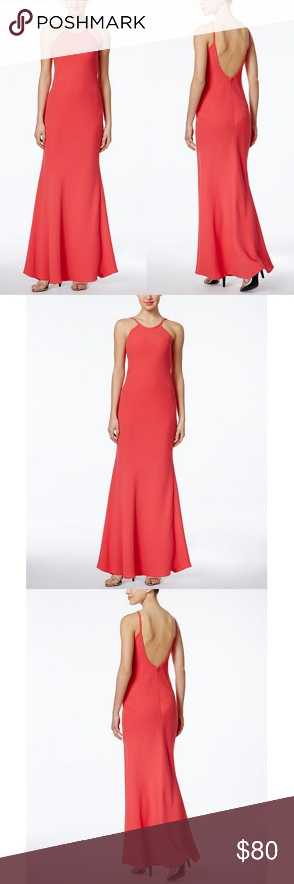 Calvin Klein open back altar back gown Stunning first spacial occasion, this elegant gown from Calvin Klein features a gorgeous halter neckline and beautiful open back for a striking look.  Shell and lining :polyester  Professional dry clean  Back zipper closure  Floor length  Halter neckline :slight trumpet silhouett  Open back. Calvin Klein Dresses Maxi