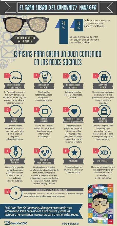 Hola: Una infografía con 13 pistas para crear buen contenido en Redes Sociales. Vía Un saludo