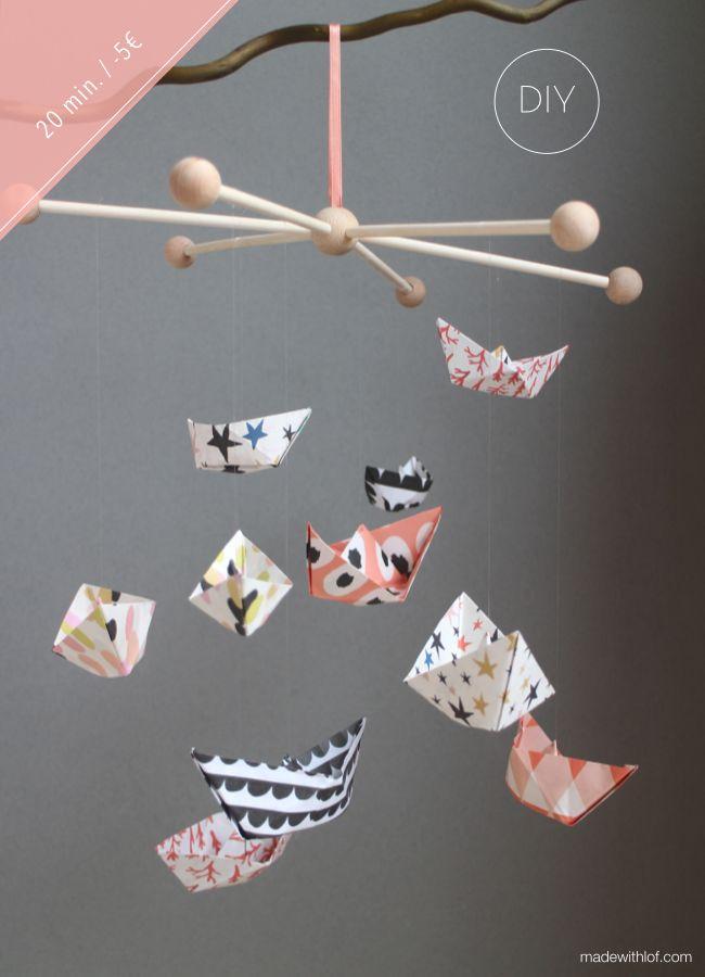DIY - Móvil de barquitos de papel - Made with lof