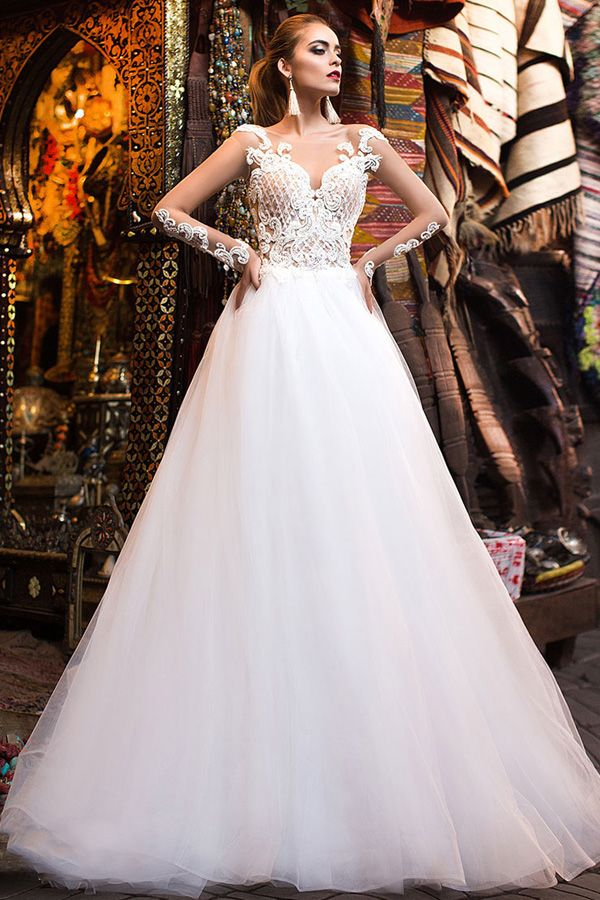 Fascinating Tulle Scoop Neckline See-through Bodice A-Line Wedding Dress  With Beaded Lace Appliques 81ee21ec74f2