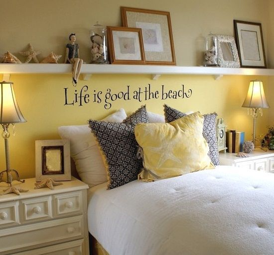 Above bed decor ideas with a beach theme... Hang the Beach above the Bed. Featured on BBL: http://beachblissliving.com/above-bed-decor-shelf-ideas-art-more/