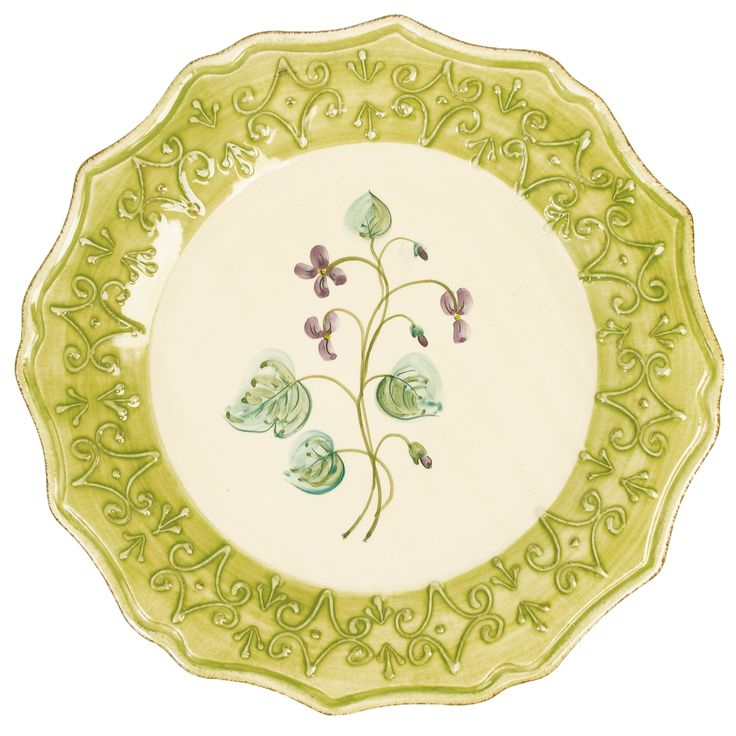 Dinner Plate Green with Violets by Rice of Denmark