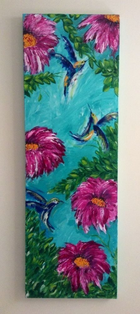 Birds And Pink Flowers Aqua Background Bright Colours Canvas Acrylic Original in Art, Paintings   eBay