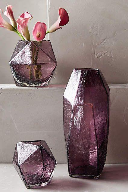 Anthropologie faceted gem vase