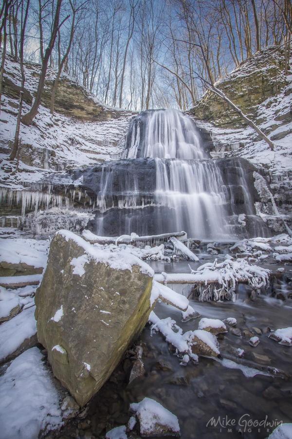 Embedded image permalink: @M G digital through City of Waterfalls. Sherman Falls in Hamilton Ontario in winter.