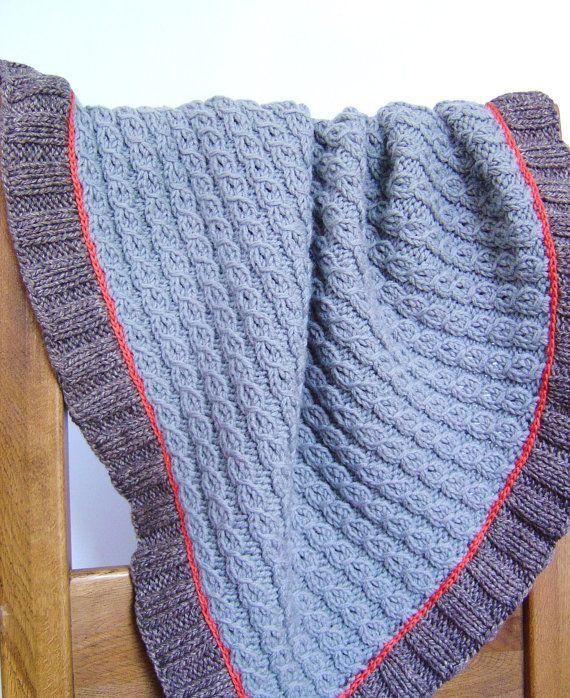 Knitting PATTERN Mock Cable Baby Blanket Easy Knit Lap Blanket Improving Begi...