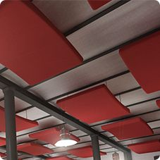 Absorbent suspended ceiling panel MELLOWCLOUD ABS Standard and customised shapes. Optimised shape, array and positioning that ensure uniform coverage. When suspended, integrated mounting hardware and cable system (only 4 by each panel) are used.  NRC : 0,89. Very lightweight (5 Kg/m2 - 80 mm thick panel).  Applications: Medium and Large Halls.