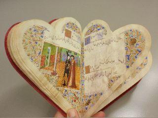 Facsimile edition of the 15th century, heart-shaped Chansonnier de Jean de Montchenu