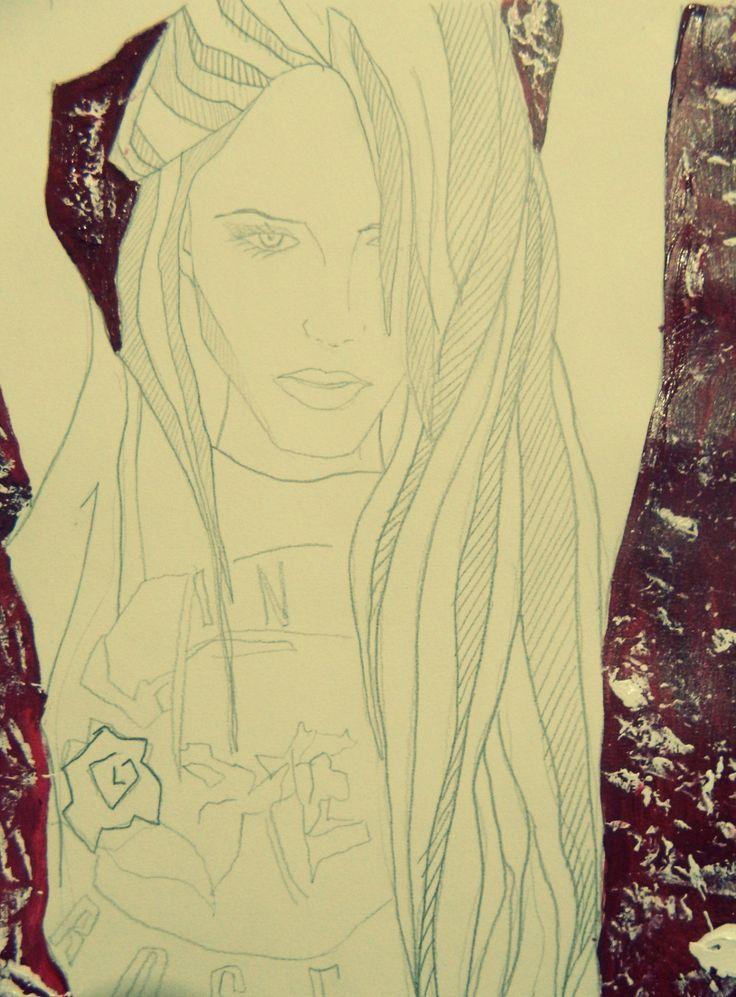 Acrilico con lapiz mina | textura con espatula | caricatura  | arte propio <3