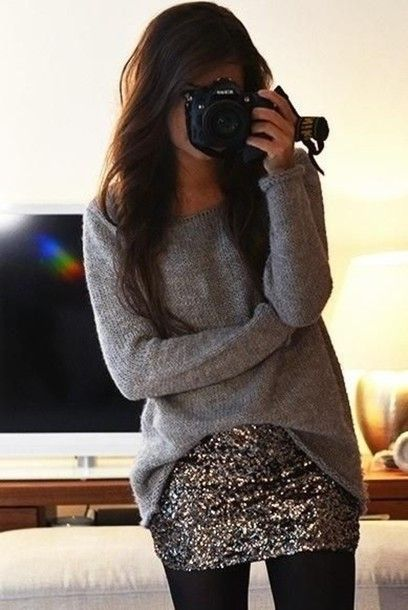 skirt shiny skirt slouchy sweater winter outfits jeans leggings fashion style love life girl wear sweater clothes glitter simple cute bag gold sequins oversized sweater gray t-shirts sparkly shirt gray oversized sweater sequin skirt oversized grey knit gold, sequin, mini skirt silver sequins top grey long sleeve top casual party grey
