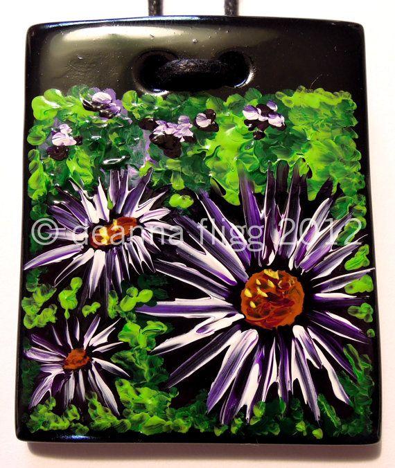 Garden - Original acrylic painting on polymer clay. $45.00, via Etsy.