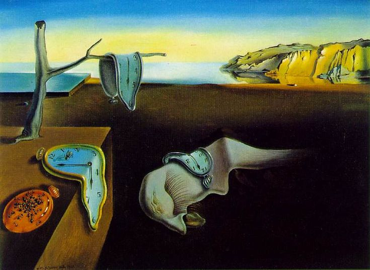 The Persistence of Memory, Salvador Dali, 1931, Oil on Canvas, 24 cm × 33 cm.  Housed in the Museum of Modern Art, New York City.
