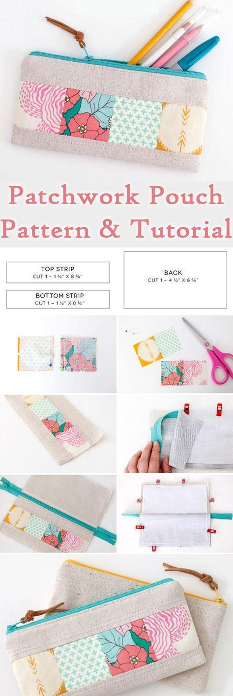 Patchwork Zipper Pouch DIY Tutorial www.free-tutorial…