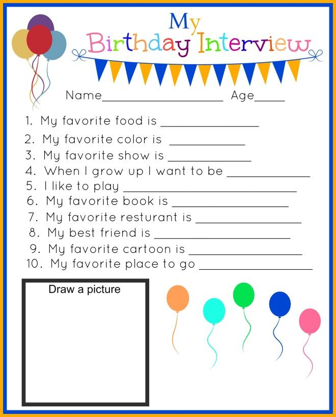 My Birthday Interview Printable!  Track your kids birthdays through the years with these fun questions and answer printables!