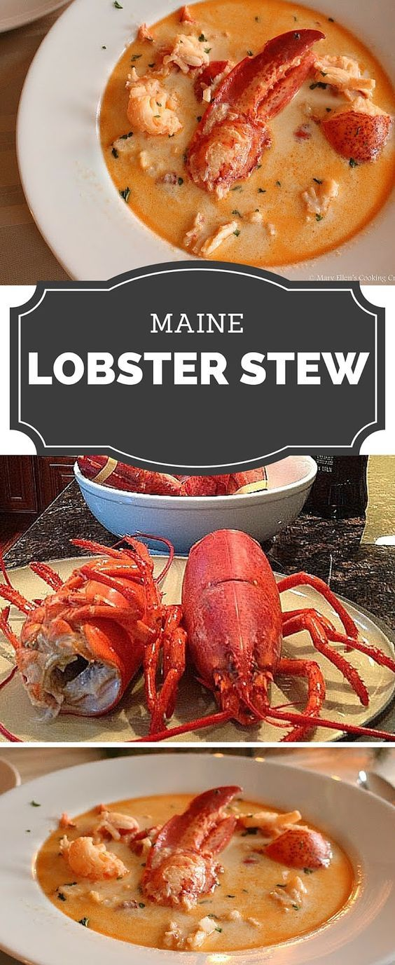 Absolutely decadent Maine Lobster Stew. Tons of fresh lobster meat in a lobster stock with sherry and cream. Comforting yet elegant - perfect for entertaining! www.maryellenscookingcreations.com