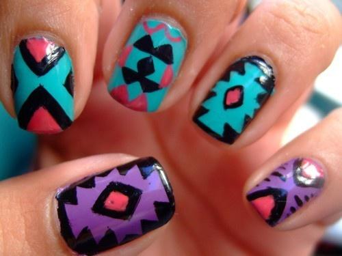 Omgoshhh! <3: Nailart, Nails Design, Tribal Nails, Nails Art Design, Tribal Prints, American Nails, Native American, Aztec Nails, Tribal Patterns