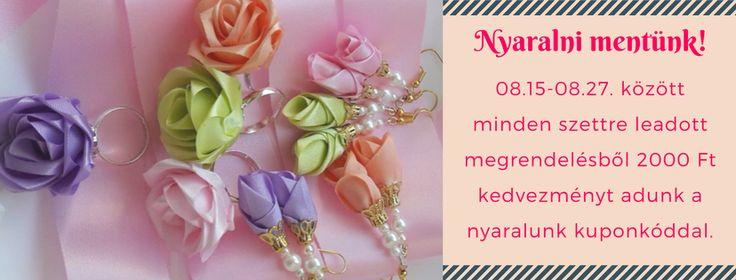 egyedi ékszer webshop ajándékba születésnapra, esküvőre, évfordulóra lepd meg magad, ha szeretnéd kifejezni romantikus énedet, fülbevaló, gyűrű, szatén rózsából