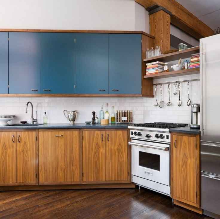 Kitchen. Winsome Contemporary Kitchen Design Ideas With Brick Wall Kitchen Combined Walnut Wooden Cabinet With Blue Accent Also Modern Kitchen Appliances In Apartment Kitchen Renovation Ideas. Adorable Apartment Kitchen Renovation Ideas For You