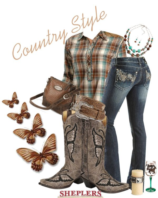 """Country Girl Style"" by sheplers-western-wear on Polyvore...hahahaha I can name all these items and there brand! Gotta love working at a western store!"