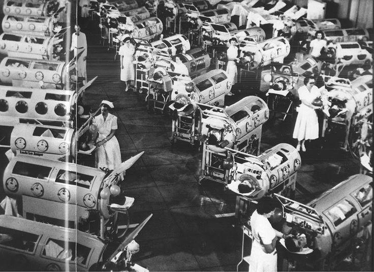 Iron lung ward filled with polio patients, Rancho Los Amigos Hospital, California, 1953
