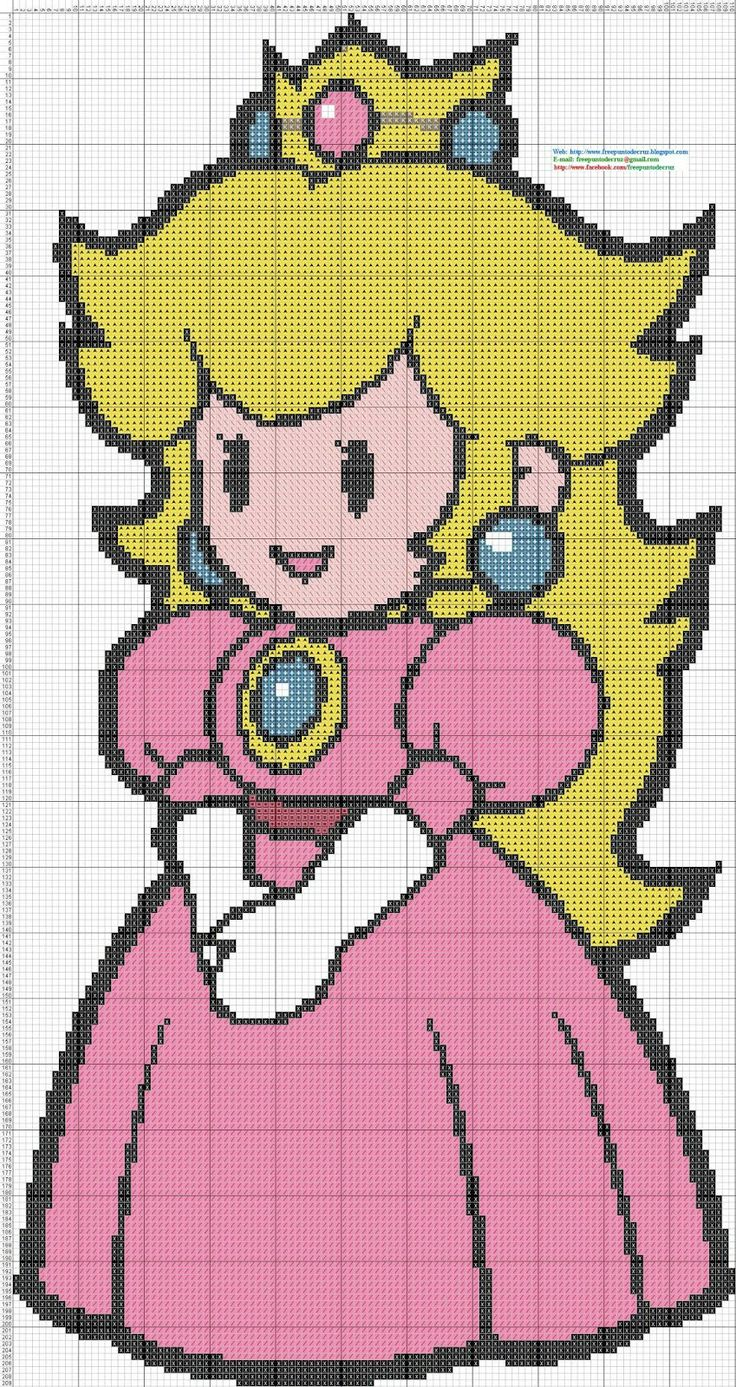 Princess+Peach+Mario+Boss+Cross+Stitch+-+Punto+de+cruza.jpg (849×1600)