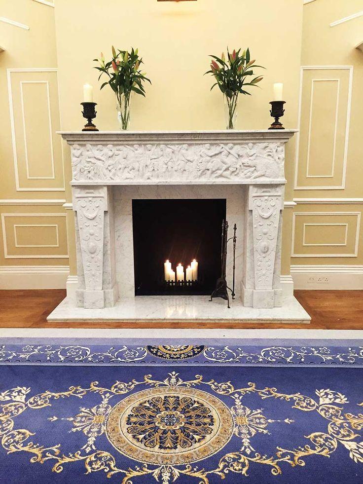 Georgian interiors. Large fireplace. Hallway. Yellow wall panelling >> https://www.bathbespoke.co.uk/2017/04/19/cleveland-house-bath-sunday-times-homes-lust-list/