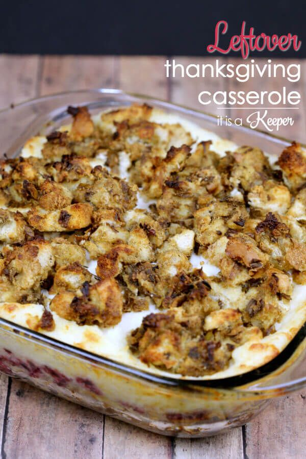 Leftover Thanksgiving Casserole   Print Prep time 5 mins Cook time 25 mins Total time 30 mins   Author: Christina Hitchcock Recipe type: Main Dish Serves: 4 Ingredients 4 cups leftover prepared stuffing, divided 4 cups coarsely chopped leftover cooked turkey (about 1 lb.) ¾ cup mayonnaise, divided ¼ cup cranberry sauce 2 cups leftover …