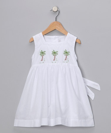 Take a look at this White Palm Tree Dress - Infant, Toddler & Girls by Fantaisie Kids on #zulily today!