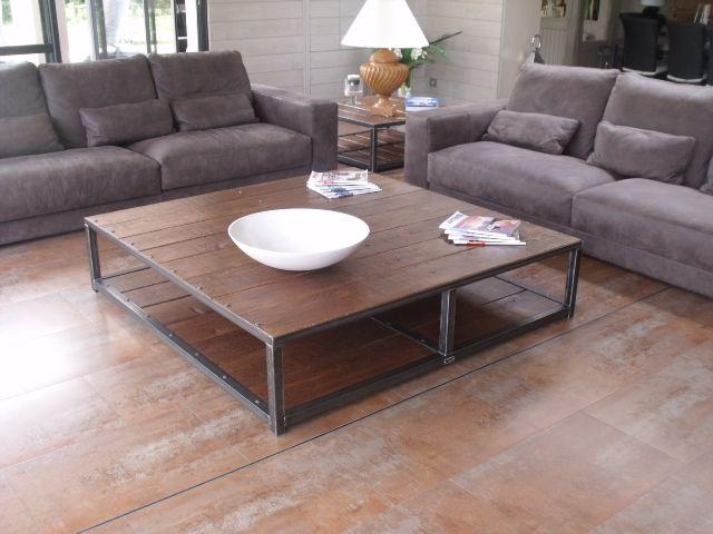 27 best images about Table industrielle bois acier brut sur mesure sur Pinter -> Grande Table Basse Carre Indus