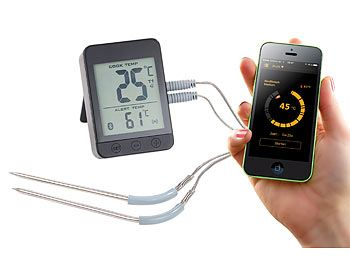 Rosenstein & Söhne Grillthermometer m. Bluetooth, Android- & iOS-App, 2 Temperatur-Fühler Rosenstein & Söhne Bluetooth Grillthermometer mit Apps