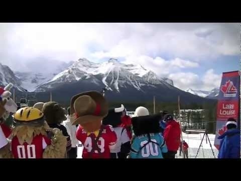 Some NFL mascots came out to the Lake Louise Ski Area to welcome their new mascot, Griff the Grizzly