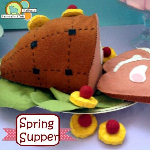 Vintage Style Ham with Pineapple accents - Felt Food