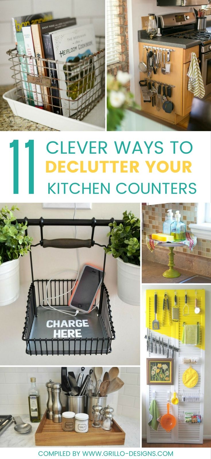 Declutter kitchen counters - Check out these 11 clever ways you can rid your kitchen counters of clutter and be more organized!