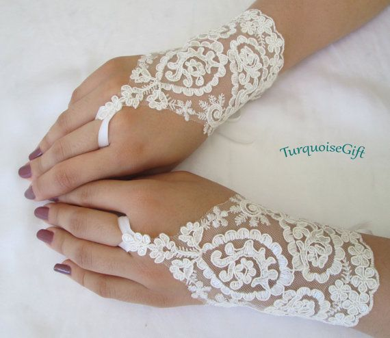 Free ship Wedding GLOVES Bridal accessories Bride by TurquoiseGift