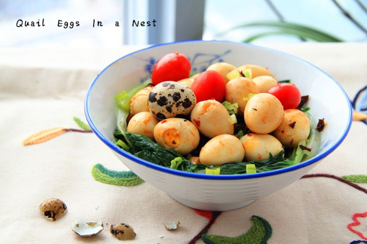 Spicy Quail Eggs in a Nest #egg #eggs #quail #Easter #spicy #colorful #Asian #recipe