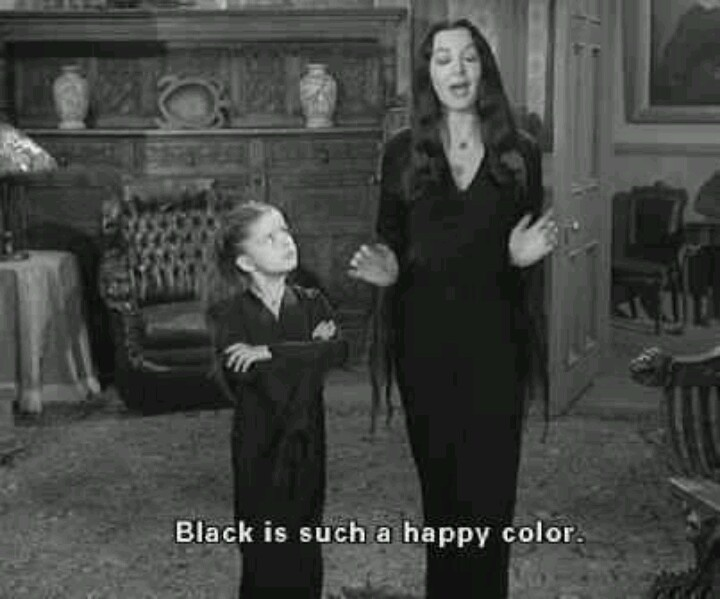 Black is such a happy color. Morticia Addams from Addams ...