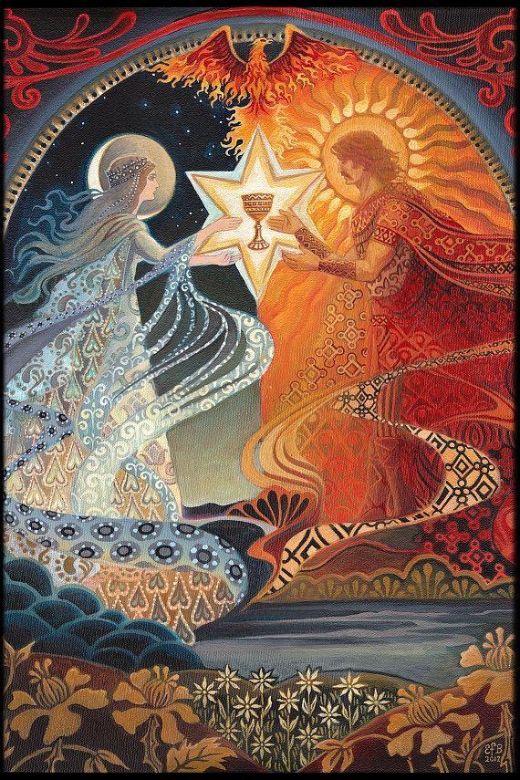 Alchemical Wedding Sacred Marriage Goddes Art by EmilyBalivet