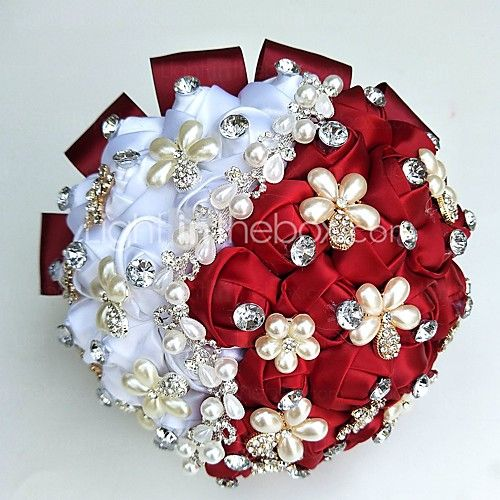 Wedding Flowers Round Roses Bouquets Wedding Party/ Evening Satin Silk Bead Rhinestone 2017 - kr.219