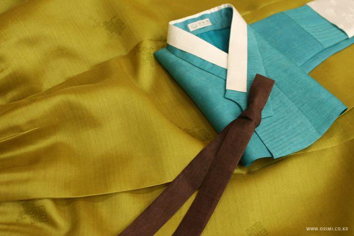 오리미한복 :: 청록과 금빛의 만남, 오리미 시어머니 혼주 한복