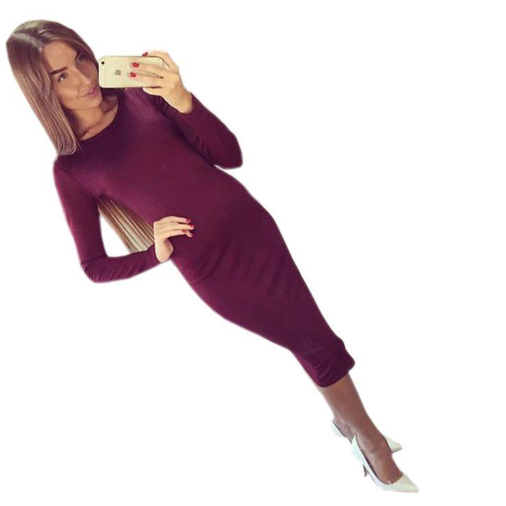 2016 Long Sleeve Knee Length Midi Dress Slim Bodycon Bandage Autumn Black Wine Red Women Dresses Bandage Vestidos Q0001 - free shipping worldwide