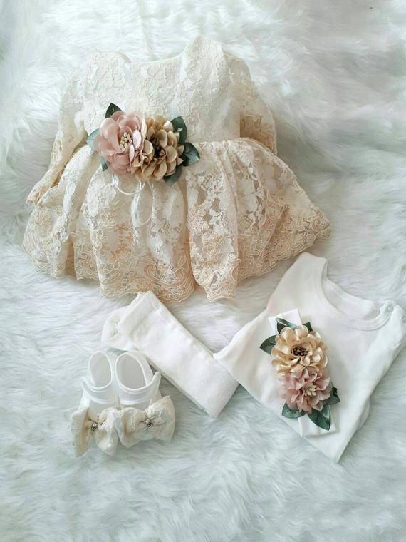 Michealboy Baby Girls Baptism Ivory Dress Christening Gown Tea Length Wedding Special Occasions