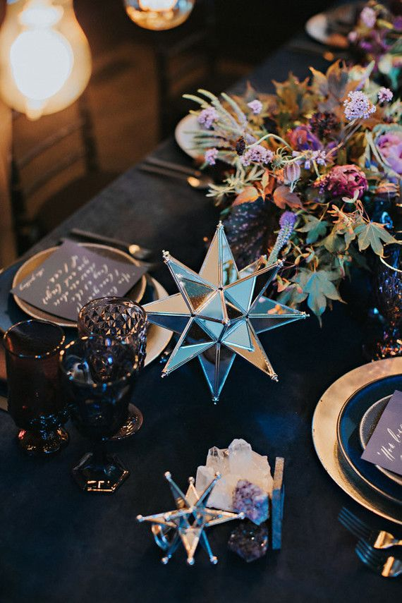 "Dark purple, blue, magenta ""Over the Moon"" wedding inspiration centerpiece and tablescape"