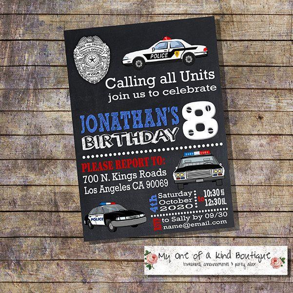 Police birthday invitation kids police cars chalkboard party invite officer policeman digital printable invitation 13917 by myooakboutique on Etsy