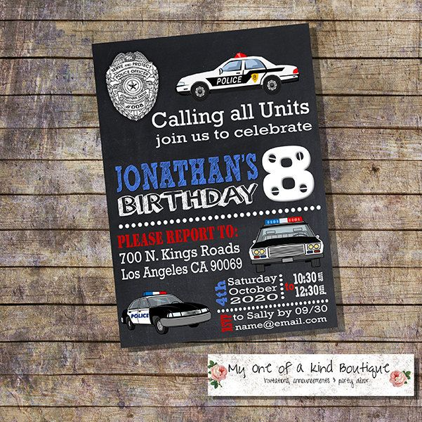 Police birthday invitation kids police cars chalkboard party invite officer policeman digital printable invitation 13917 by myooakboutique on Etsy