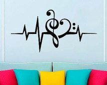 Wall Decals Music Puls Decal Vinyl Sticker Treble Clef Bass Clef Heart Decor Home Bedroom Interior Design Art Murals VK92