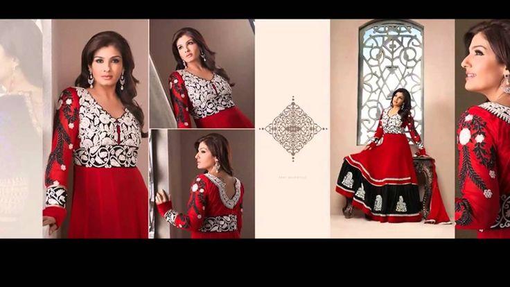 Hot Indian Bollywood  Raveena Tandon Gown Style  long Anarkali Churidaar kameez