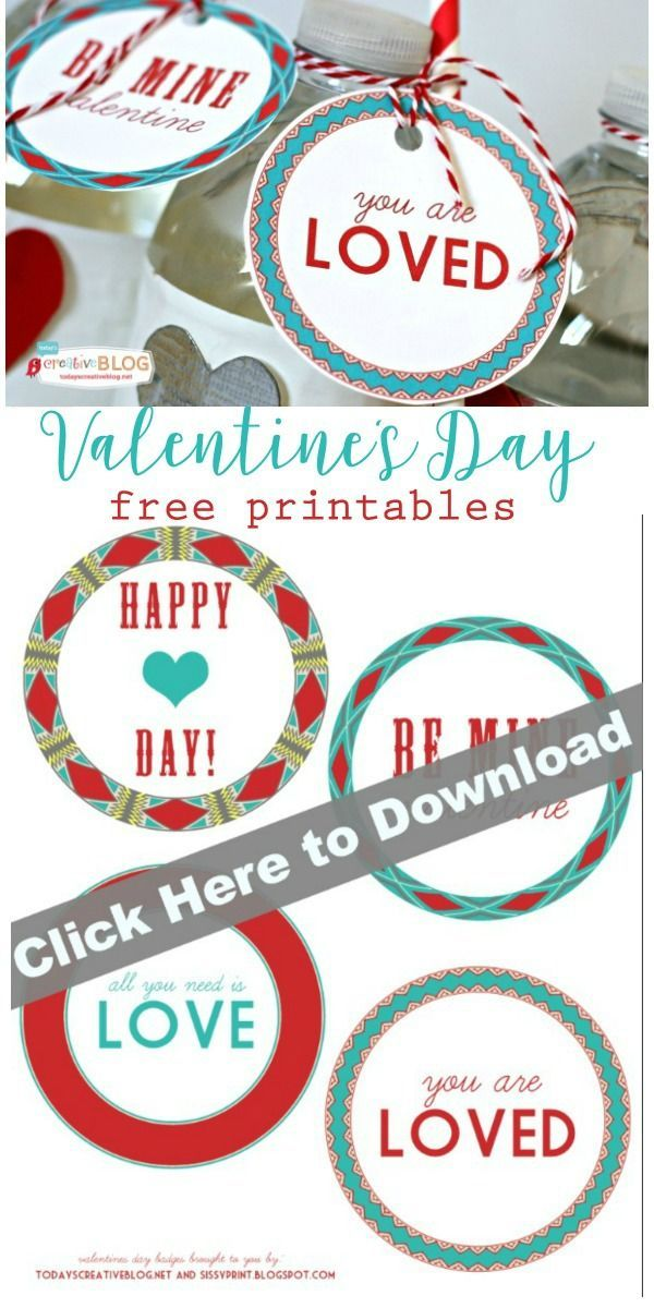 Printable Valentine Tags | Free printable Valentines Day gift tags and labels. See more on TodaysCreativeLife.com
