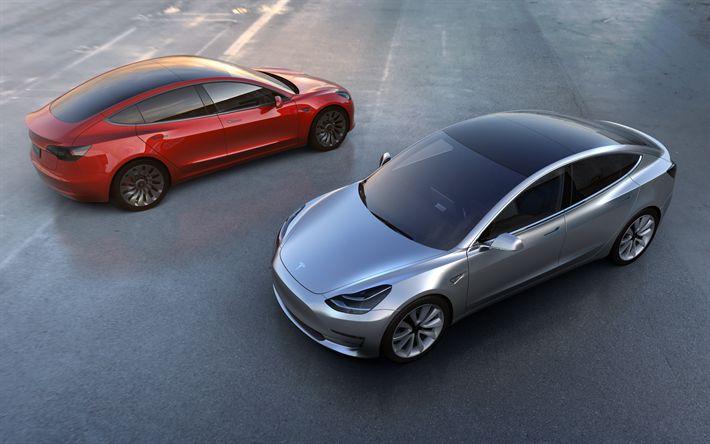 Descargar fondos de pantalla Tesla Model 3, 2017, coche Eléctrico, eléctrico de cinco asiento de la limusina, coches Americanos, Tesla
