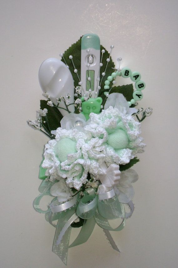 Baby Shower Corsage / Crocheted Mint Green Baby by NonisNiche