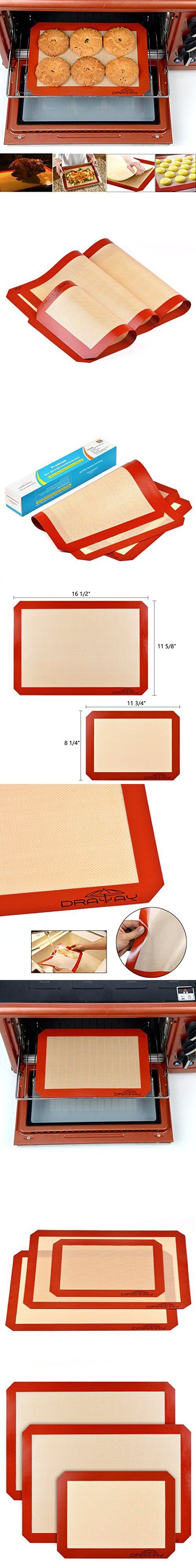 Silicon Mats for Baking, Set of 3 Non Stick Silicon Baking Mat 2 Large for Half Sheet Liners (16 1/2 inch x 11 5/8 inch) and 1 Quarter (11 3/4 Inch x 8 1/4 Inch) for Draway Heat Resistant Cookie Sheet